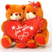 2 Teddies 6 inches each with Valentine Heart