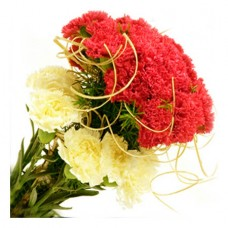6 Red  6 yellow Carnations Bouquet