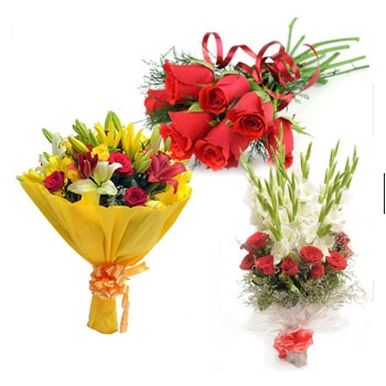 3-bouquets 6 red Roses Yellow lilies red roses White gladiollus red roses