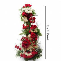 2 to 3 Feet white and red 100 flowers arrangement