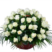 40 White roses basket