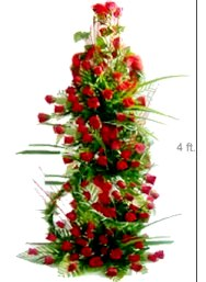 4 feet tall Arrangement of 100 Red Roses