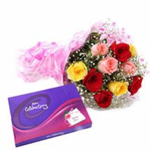 Cadburys celebration with 12 Mix roses