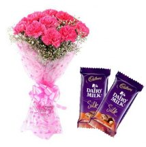 2 Cadburys Silk chocolates with 10 Pink Carnations