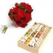 1 Kg Sweets and Bunch 6 Red roses