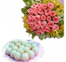 1/2 Kg. Rasgulla and 12 pink roses