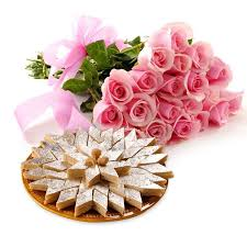 1 Kg kaju Barfi and 12 pink roses