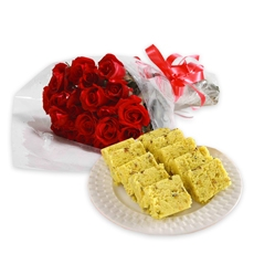 1/2 Kg. Soan Papri and 12 red roses