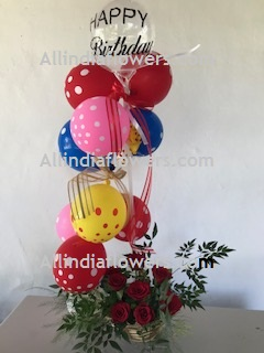 10 Polka dotted Balloons Air filled with happy birthday print balloon + 8 roses