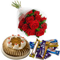6 Red�Roses + 1/2 Cake+5 bars cadburys chocolate