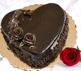 5 Star Heart Chocolate Cake with 1 rose