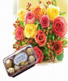 12 Mix roses bunch with 16 piece ferrero Rocher box