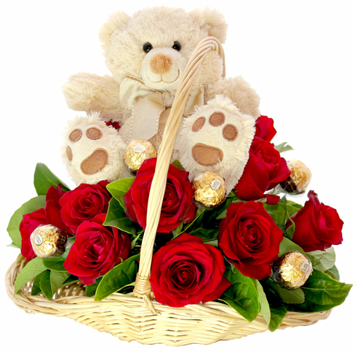 Teddy( 6 inches) in the same Basket with 8 Red�Roses