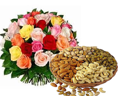 Dozen mix roses with half Kg Dryfruits