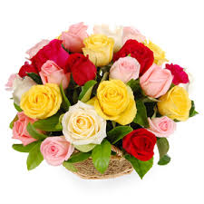 Basket Arrangement of 20 Assorted Roses