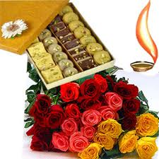 1/2Kg Mix mithai+12 mix flowers