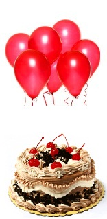 6 Red Air Balloons with 1/2 Kg Black Forest Cake