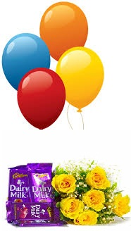 4 Blown balloons 6 yellow roses hand tied 4 Dairy milk chocolate bar