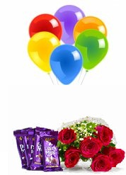 5 Air Blown balloons 6 Red roses hand tied 4 Dairy milk chocolate bars