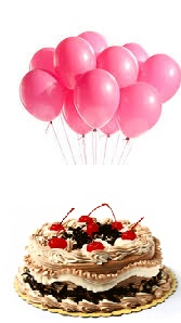 6 Pink Air Balloons With 1 2 Kg Black Forest Cake