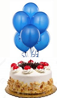 6 Blue air filled Balloons with 1/2 Kg Black Forest Cake
