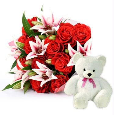 Teddy 12 inches+ Red Roses white lilies bouquet