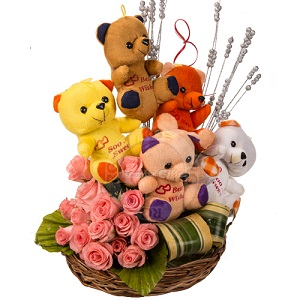12 pink roses 5 Teddies in same basket