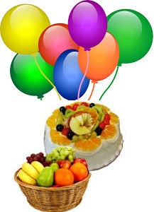 Basket of Fresh Fruits 1 Kg 7 air filled balloons 1/2 kg Fresh fruit cake