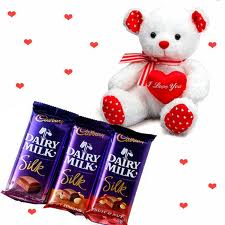 3 Cadburys Silk chocolates with 6 Inches teddy bear