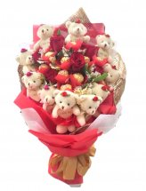 6 Red Roses with 5 ferrero and 10 teddies in same bouquet