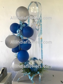 10 Silver Blue Balloons Air filled 12 Blue flowers with One Transparent Balloon