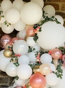 30 Pink White and golden balloons adorned with leaves