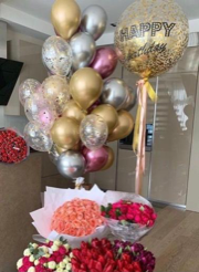 20 gas balloon 1 transparent happy birthday printed and silver gold and confetti balloons with 4 Bouquet of flowers