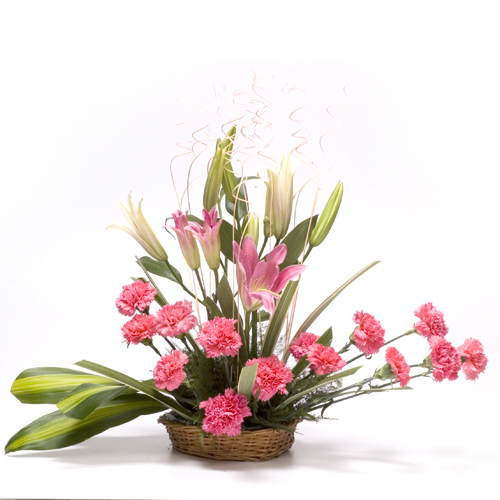 Pink lilies and pink carnations basket