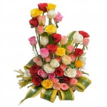 Basket Arrangement of 24 Assorted Roses