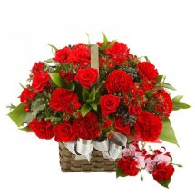 24 red carnations and red roses basket