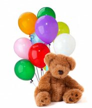 10 Plain Mix colour balloons with 10 Inches Teddy bear