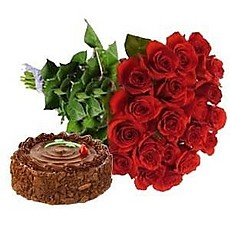 24 Red Roses bouquet and 1 Kg Cake