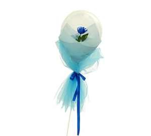 Single Blue rose or orchid Inside a clear balloon with blue and white wrapping
