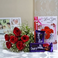 6 Red Roses bouquet with Card and 2 Cadburys Silk