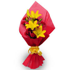Red Roses Yellow Liliums bouquet