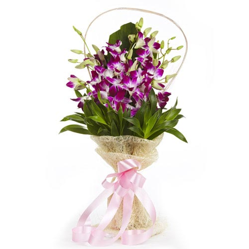 Bouquet of 10 purple orchids