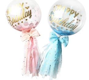 2 Clear happy birthday printed letters on balloons with pink and blue wrapping and ribbon bows