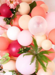 15 white and pink and red balloons with leaves and pink flowers