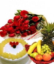 2 Kg. Fresh Fruits in Basket with 1/2 Kg Pineapple Cake and 12 red roses