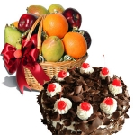 1 Kg. Fresh Fruits in Basket with 1/2 Kg black forest cake