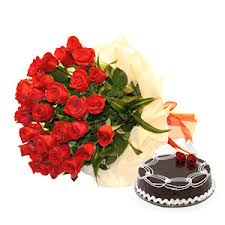 24 red roses bunch 1/2 Kg Eggless Chocolate Cake