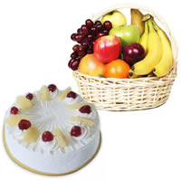 1 Kg Fresh Fruits In Basket With 2 Pineapple Cake