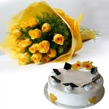 12 Yellow Roses +1 Kg chocolate Cake