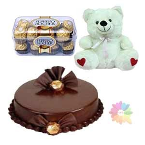 � Kg Chocolate Cake 16 Ferrero rocher and 6 inches Teddy